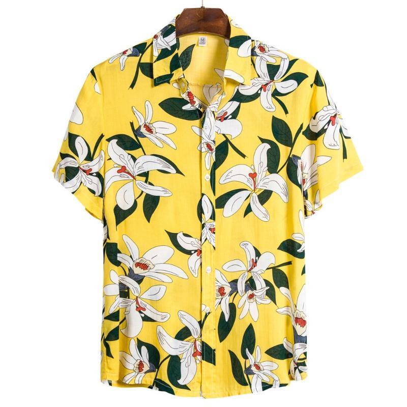 Shirt Mens Ethnic Style Short Sleeve Casual Lapel Streetwear Printing Hawaiian Camisa Masculina Blouse Shirts For Men Men's