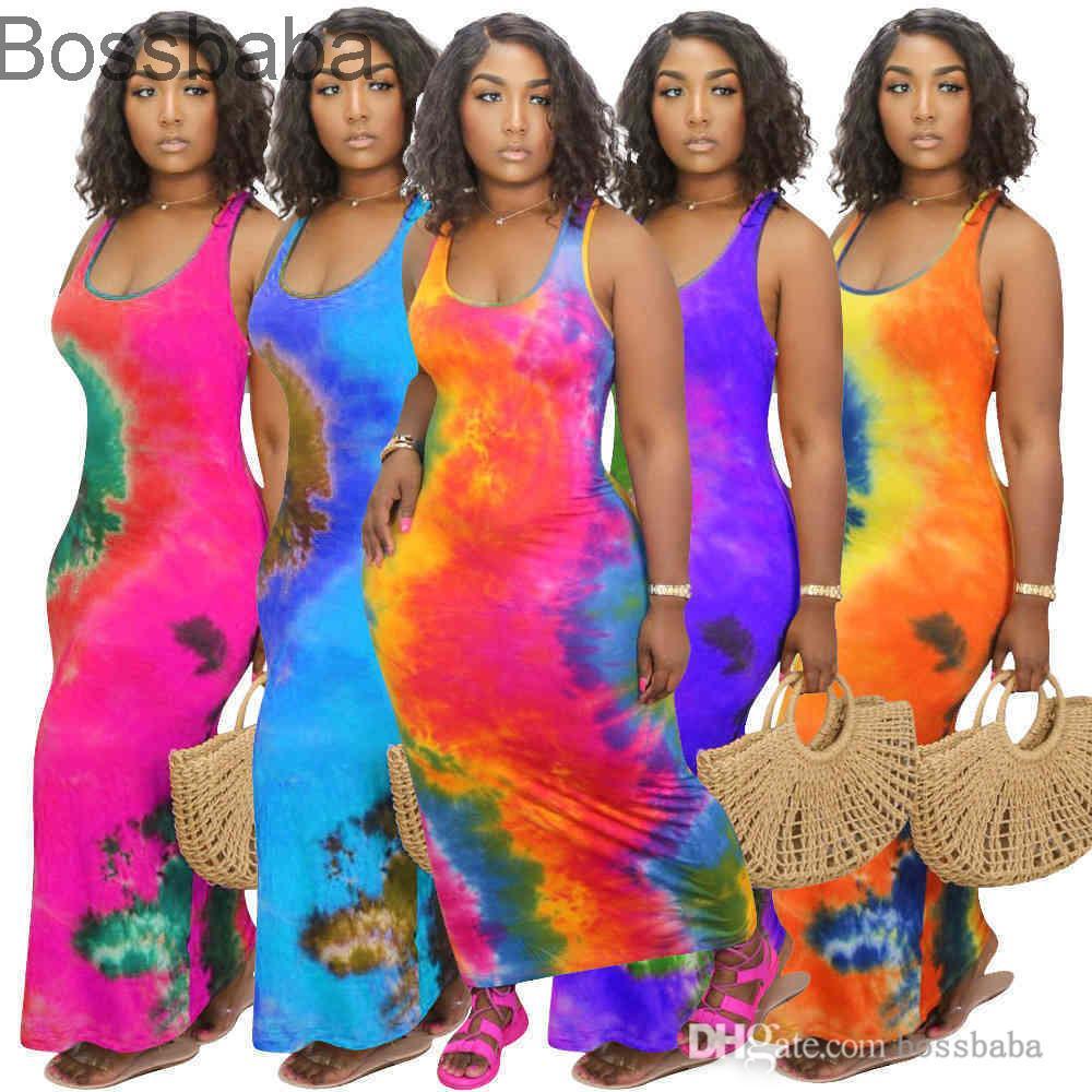 Signore Abito lungo Tie Dye Manica Corta Casual Long Gonna Sexy U-Neck Big Swing Fashion Stampato senza maniche Maxi Abiti Plus Size 878