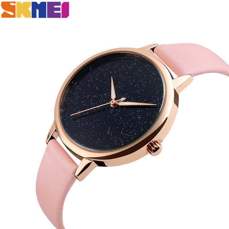 Skmei Women's Watches Top Luxury Clock Senhoras Relógio De Moda Estrela Couro Strap Resistente à Água Relógio Relogio Feminino 9141 Y0708