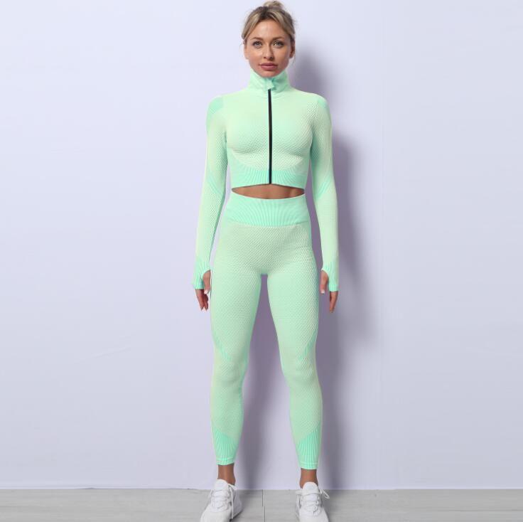 2021 Mujeres Yoga Deportes Cultivos Tops y Pantalones Conjuntos Zipper Trajes Trajes Sportswear Jogging Tow Piese Set Sweypants Sport Jogger