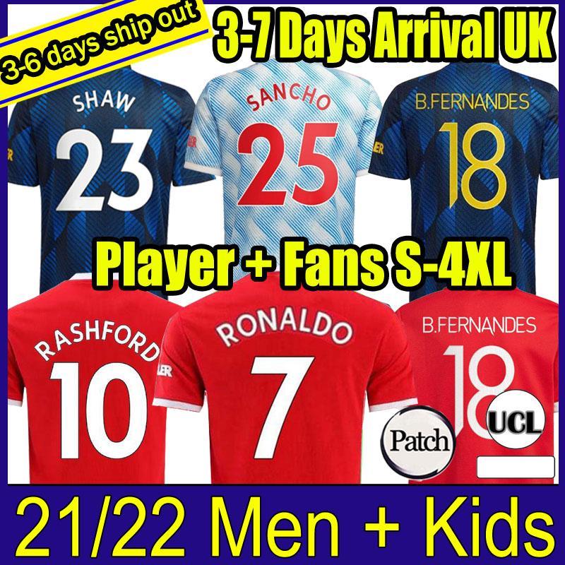 21 22 Ronaldo B. Fernandes Futbol Formaları Fanlar Oyuncu Verison United Cavani Manchester Camiseta Futbol Utd Rashford Shaw Erkekler Kids Kits 2021 2022 Futbol Gömlek