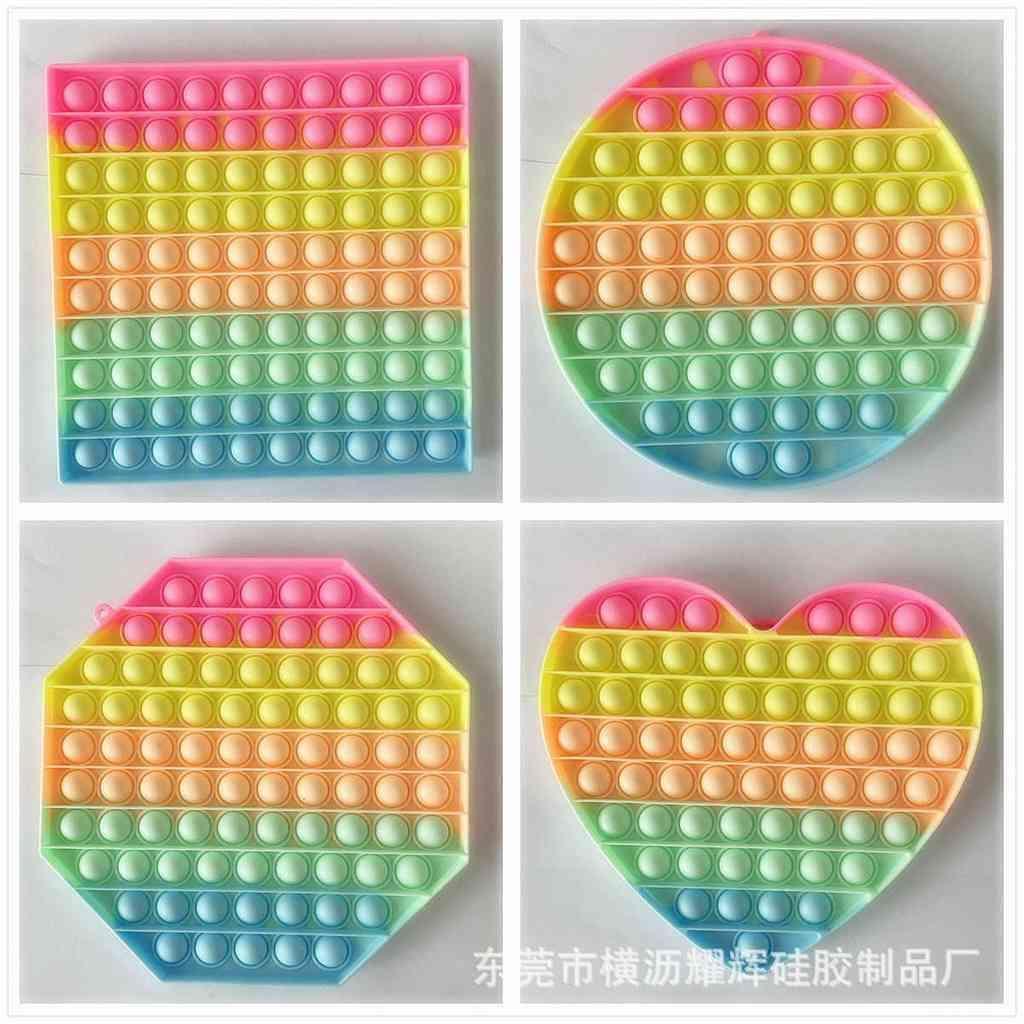 Macarron Rainbow Tie Dye Mega Mega Fidget Bubbles Popper 20cm Tamaño grande Push Pulbo Pop Bubble Poppers Board Jumbo Poo-su Círculo Cuadrado Corazón Heart Octagon Puzzle G62ZF30