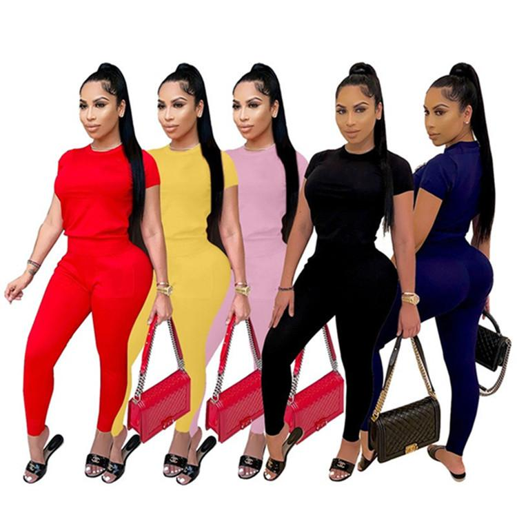 Womens Tracksuits Two Piece Set Sportswear Short Sleeve Pantsuits Woman Jogging Sportsuit For Ladies Casual Fashion Sexy T-shirt Shorts kl624