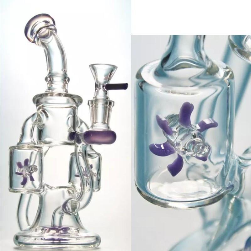 물 담뱃대 더블 리사이클 링 DAB 조작 프로펠러 Percolater 10 인치 블루 그린 유리와 14mm 그릇 winnowing 기계
