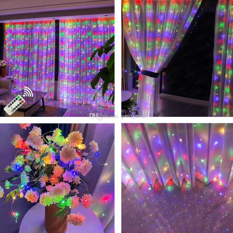3MX3M LED Cortina Guirnalda en la ventana USB String Lights Fairy Feston con decoración de vacaciones de boda de Navidad remota para el hogar
