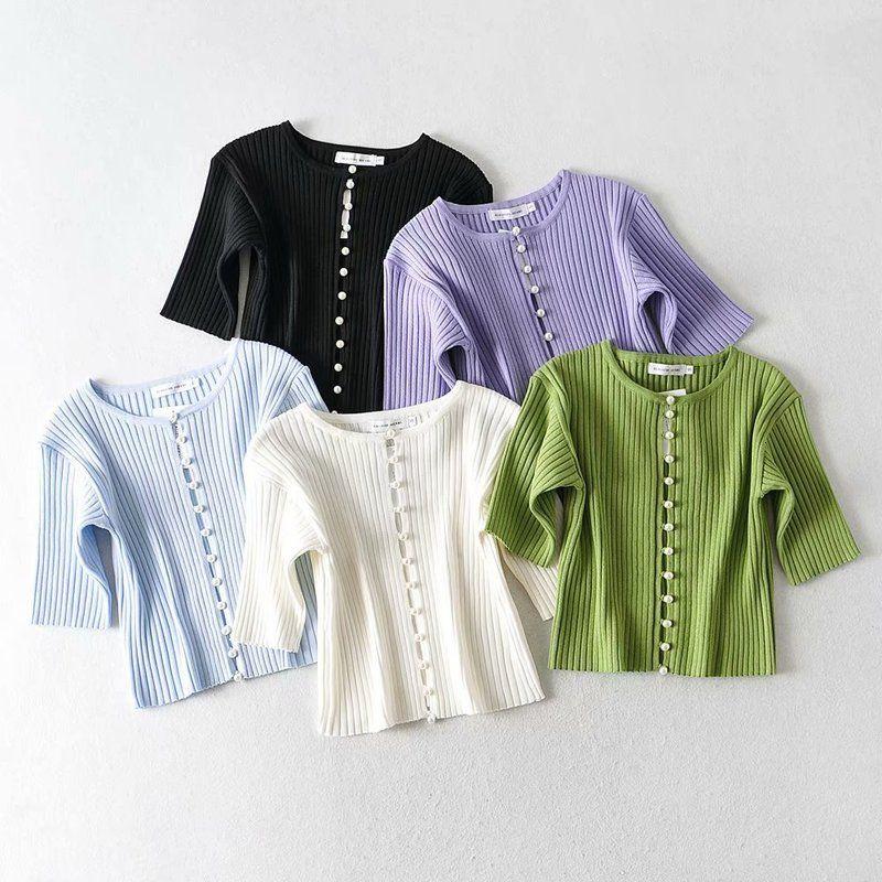 Primavera / verão 2020 multi cores pérola breasted manga t-shirt curto cardigan top u7-0216