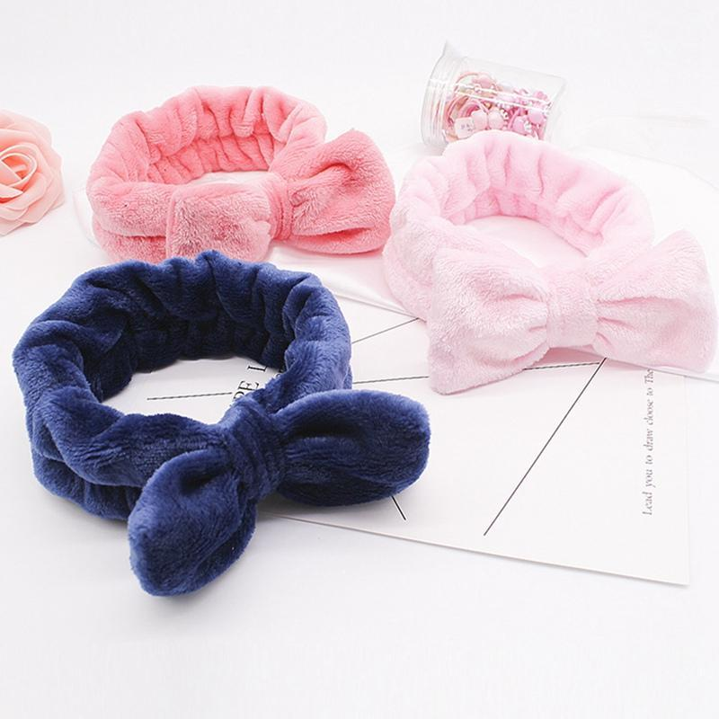 Shower Caps Coral Fleece Hairbow Cross Headband For Wash Face Makeup Lady Bath Mask Cosmetic Hairband Elastic Soft Turban Hair Accessories
