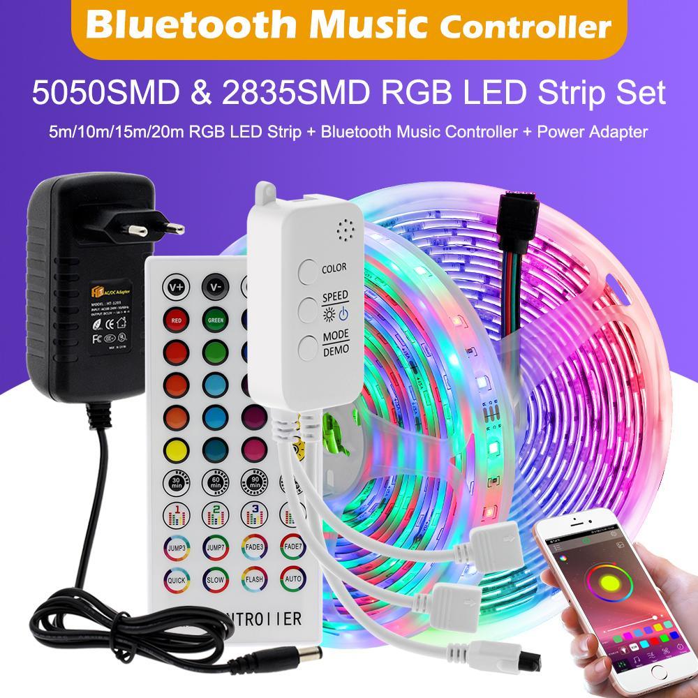 10m 15m 20m 20m RGB LED LED Luz Luz DC12V 2835 5050 LED Tape Luz Controlador de Música Bluetooth + Power Aadapter