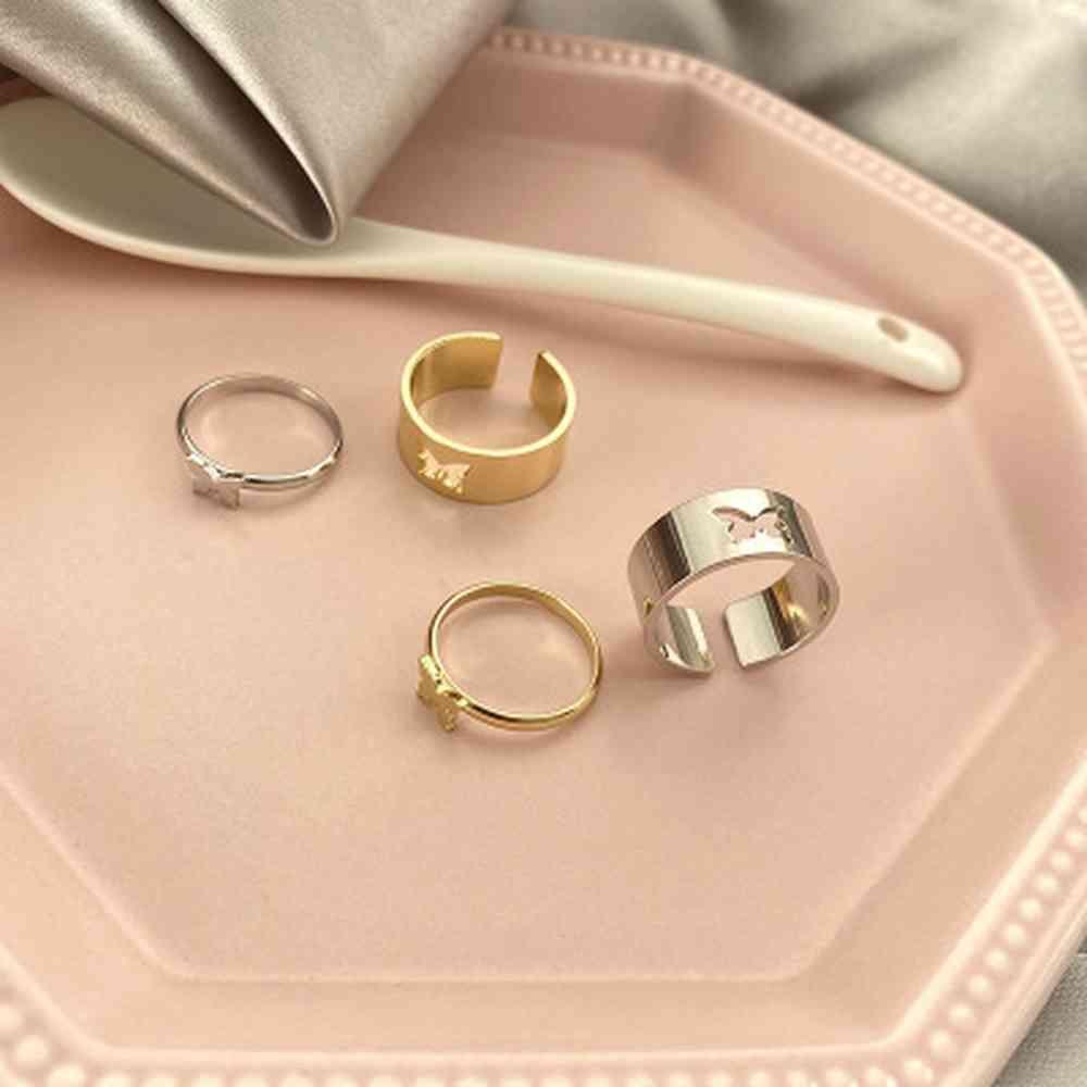 2 шт. Винтажные бабочки кольца для женщин Мужчины Любовник Пара Кольцо набор Кольцо открытого манжеты Обручальные кольца Регулируемые ювелирные изделия Bague Y0426