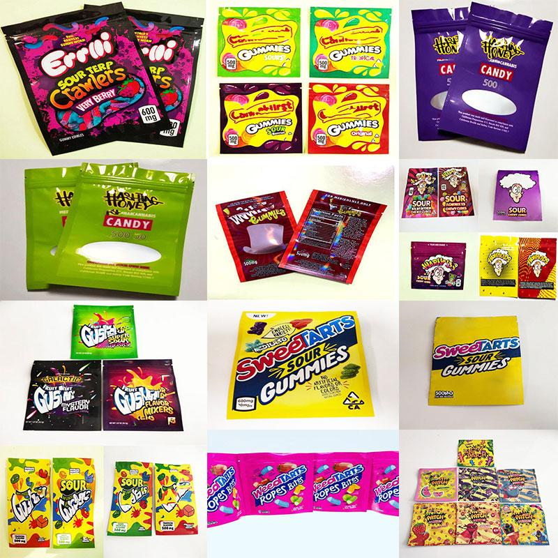 2021S ERRLLI TERP Crawlers Borse 600mg Gummy Edibles Imballaggio Mylar Bag 500mg Hashtag Hey Honey Coo California Trrlli Trolli LOL Jolly Aillers