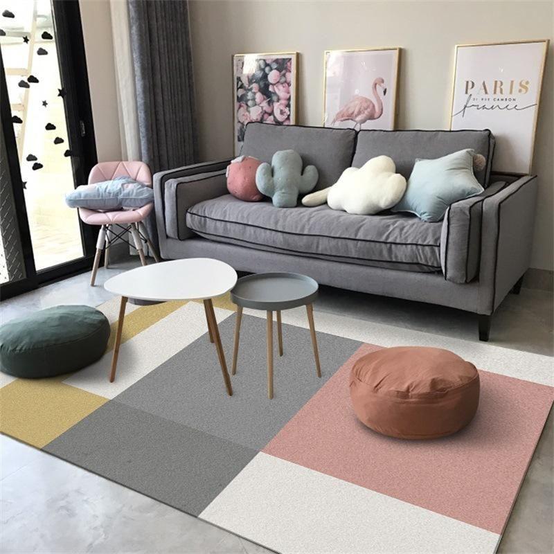 Tapete Nórdico para sala de estar grandes desenhos animados crianças tapetes modernos geométricos anti-deslize tapetes japoneses quarto decoração home tapetes
