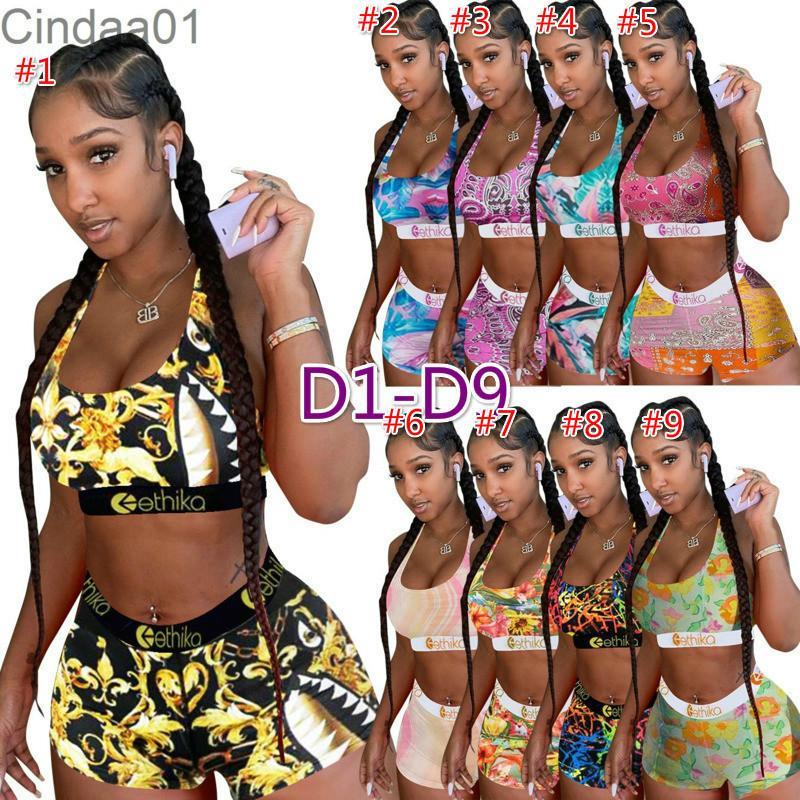 النساء 2 قطعة سروال قصير إيثيكا مجموعة ملابس السباحة مصمم رياضية سترة السراويل الصيف بيكيني الدعاوى البلوز ضئيلة تنفس اللياقة البدنية