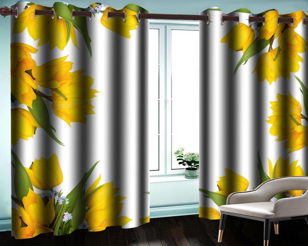 Charmante fleurs jaunes 3D rideau intérieur salon chambre cuisine cuisine moderne romantique floral fenêtre rideaux