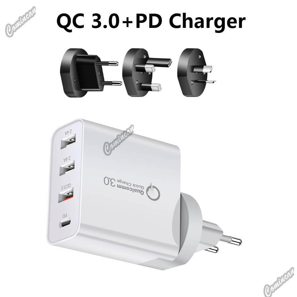 48W 빠른 충전기 PD 타입 C 4USB 포트 충전기 전화 11 12 삼성 노트 20 태블릿 QC 3.0 빠른 벽 충전기 US EU AU UK 플러그 어댑터