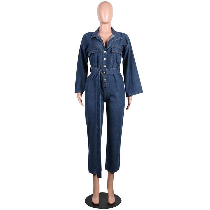 여성용 Jumpsuits Rompers 패션 Streetwear 데님 바지 여성 2021 가을 긴 소매 느슨한 캐주얼 청바지 Romper Jumpsuit 옷