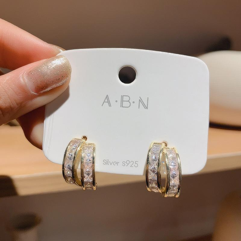 Fashion Round Geometry Stud Earrings For Women Luxury Jewelry S925 Needle High Quality CZ Cubic Zirconia Wedding Woman's Gift