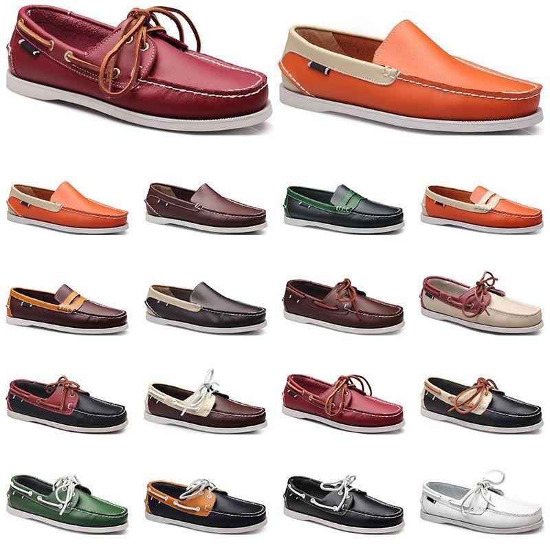 187 Womens 운동화 항해 신발 망 캐주얼 가죽 신발 검은 흰색 빨간색 녹색 오렌지 갈색 야외 트레이너 크기 38-45