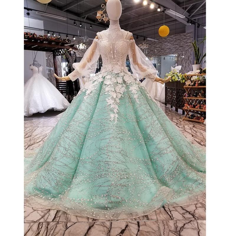 31120HT 가벼운 녹색 어머니 반짝이 드레스 긴 퍼프 슬리브 연인 브러시 기차 플러스 사이즈 꽃잎 꽃 여성 경우 파티 드레스