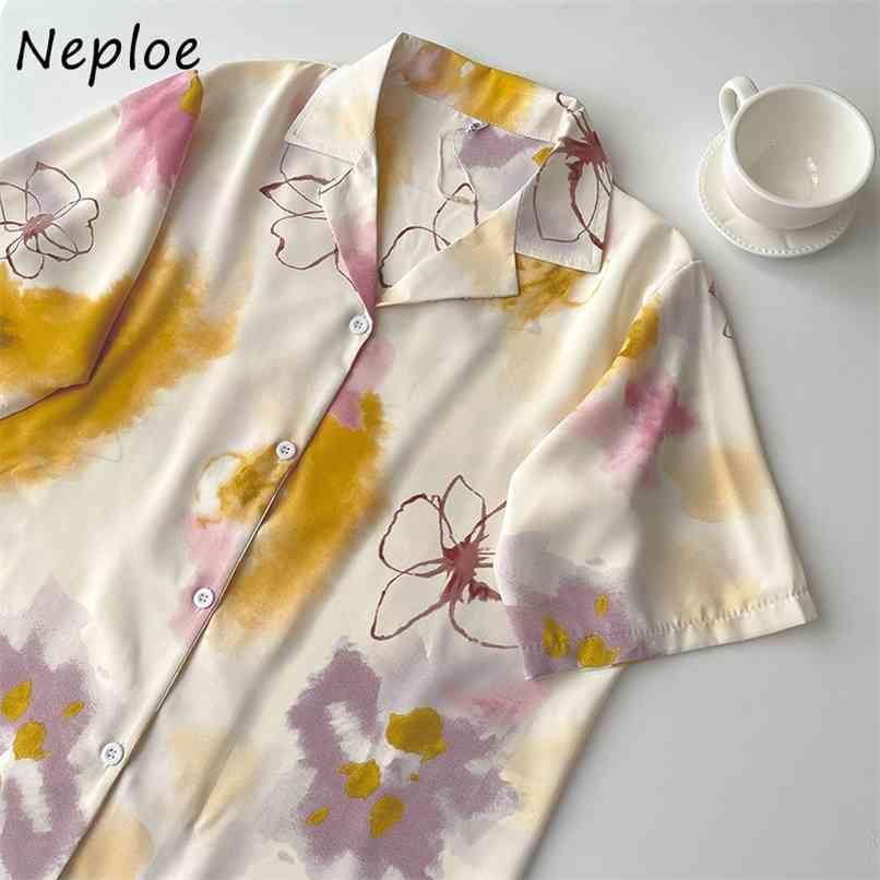 Cheorean chique impressão solta blusa mulheres giram-se colarinho de manga curta única mama blusas verão camisa casual 210521