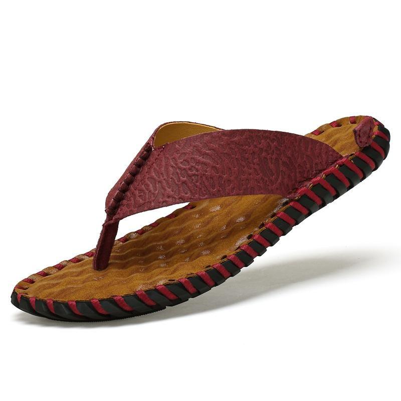 Genuine Leather Mens Flip Flops Verão Ao Ar Livre Diário de Moda Conciso Chinelos Handmade para Homens Conforto Sapatos de Praia Respirável