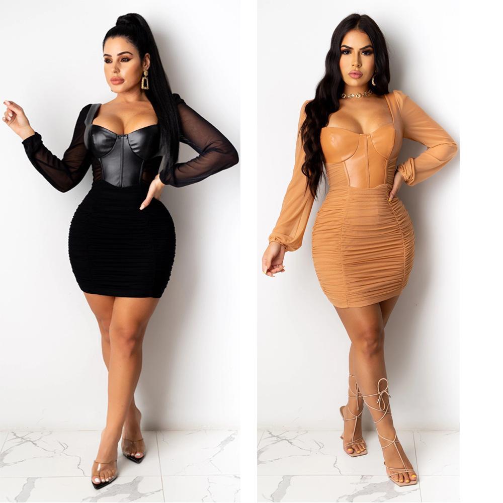 فساتين تنورة 2020 مثير ليلة نادي حزب فساتين بو الجلود شبكة خياطة طيات طويلة الأكمام يرسل الأزياء ضيق النساء اللباس ضئيلة