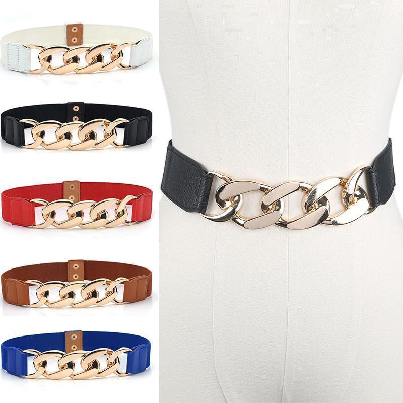 Punk Fashion Donne Belts Elastico Designer di lusso PU Thick Catena in vita cinturino in vita cappotto maglione Signora Diacinta decorativa in vita