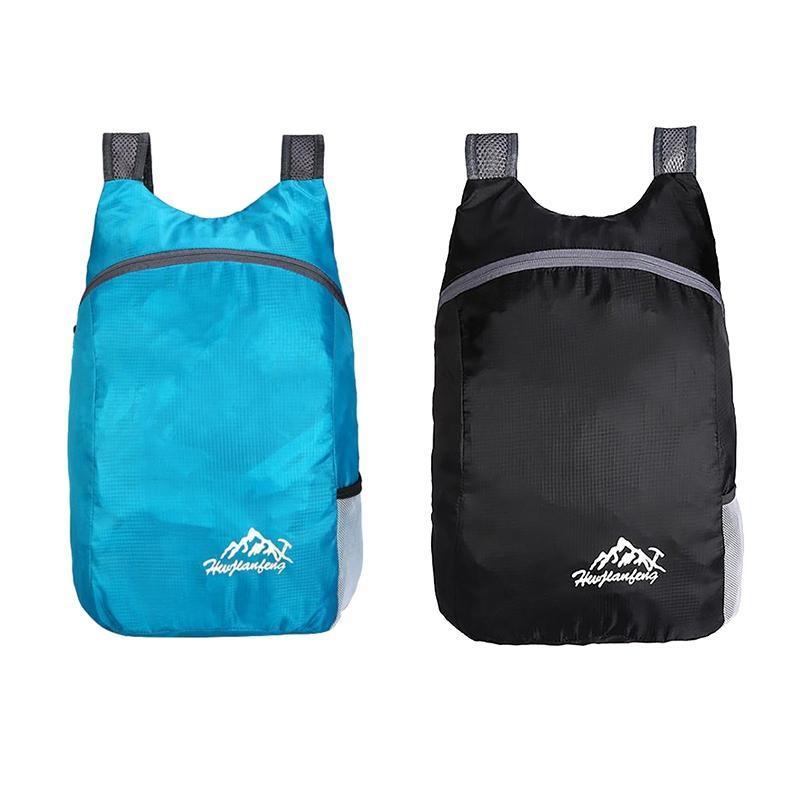 2x Hwjianfeng 20L zaino imballabile pieghevole pieghevole pieghevole da viaggio da daypack da daypack nano daypack, lago blu borse da esterno nero