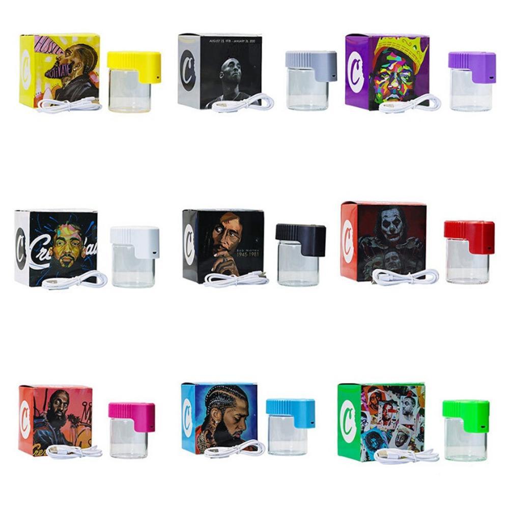 Cookies LED Conteneur de tabac léger Conteneur en plastique en plastique rechargeable Médecine Médecine Cas de pilule Pors 155ml Aperçu de l'herbe Loupe Vacuum Stockage Nouveau emballage Boîte d'emballage