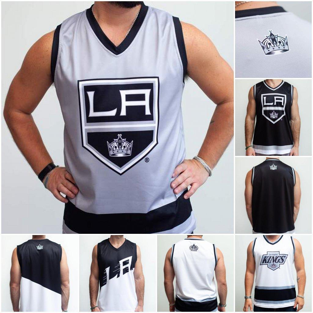 Лос-Анджелес Kings Home Court Альтернативный Хоккейный танк Черно-Синий Белый Настроить любое число и имя Личности Жилет Джесси
