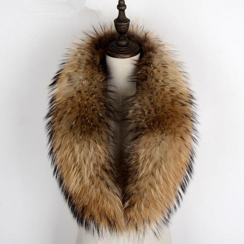 Sciarpe 100% genuina raccoon collare inverno sciarpa invernale donna cappotto rimovibile scollo a collo naturale