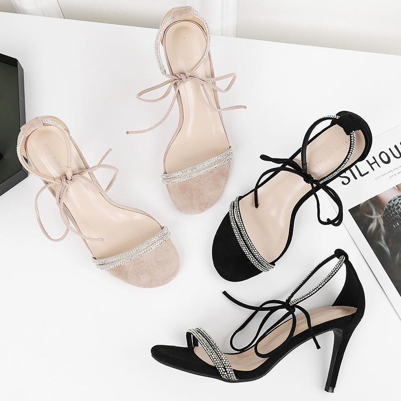 Sandals Women 2021 Summer Shoes Woman Lace-Up Crystal Ankle Straps 8.5CM Hight Heels Rhinestone Sexy Elegant Office Slippers
