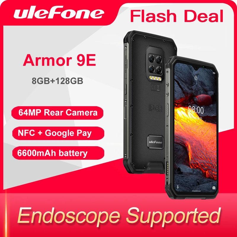 Ulefone Armor 9E 8GB+128GB Rugged Phone Android 10 Helio P90 Octa-core 2.4G+5G WIFI Mobilene 6600mAh 64MP Camera NFC Smartphone