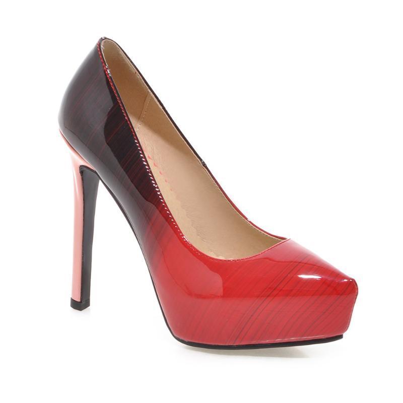 Elbise Ayakkabı Bescone Seksi Sivri Burun Kadınlar Kırmızı Siyah Degrade Ince Topuk Temel Patent Deri Sığ Parti Bayanlar BM355 Pompalar