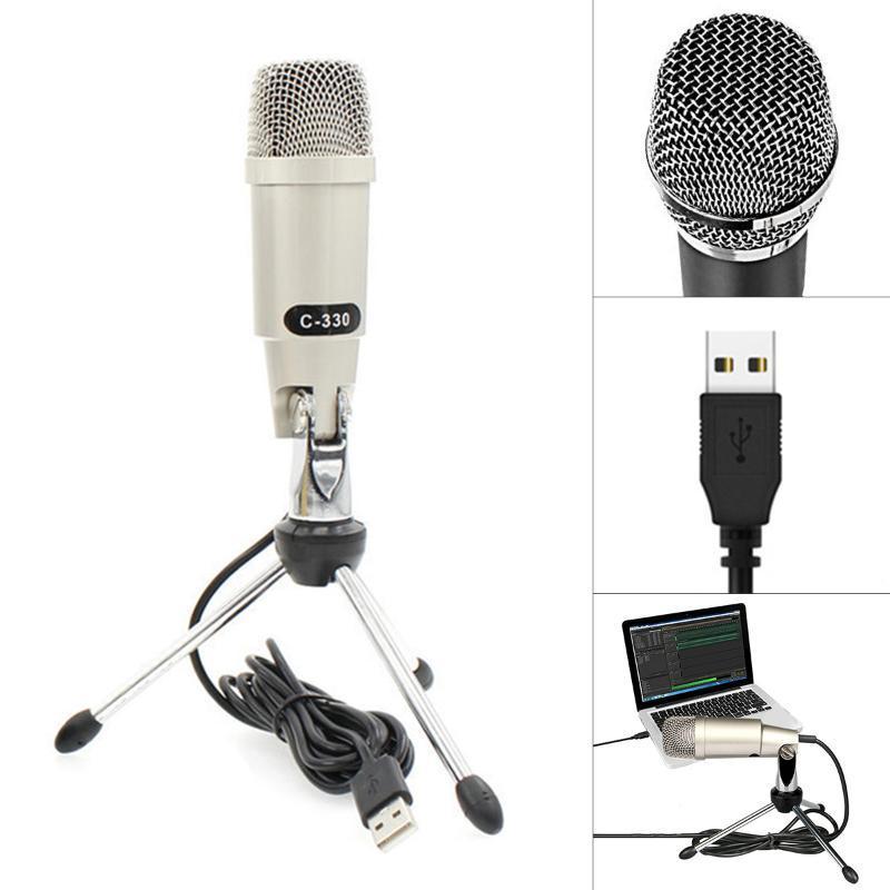 Mini USB Condenser Microphone Computer Voice Chat Karaoké jeu avec une fonction de carte son indépendante Microphones