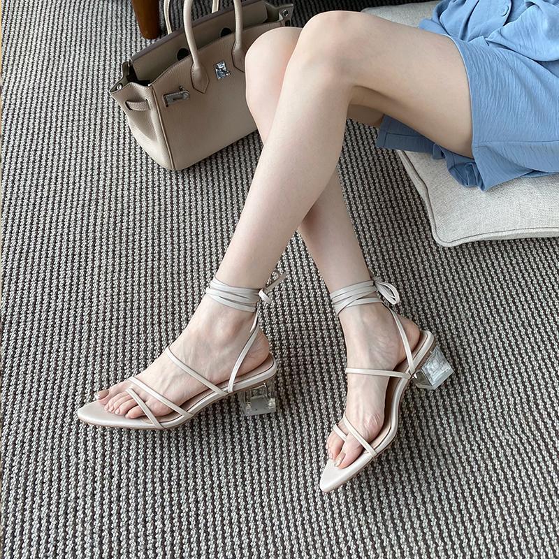 All-match Simple Beach High-heeled Sandals 2021 Summer Roman Clip Toe Feet Crystal Heel Strap Women's Shoes Z632