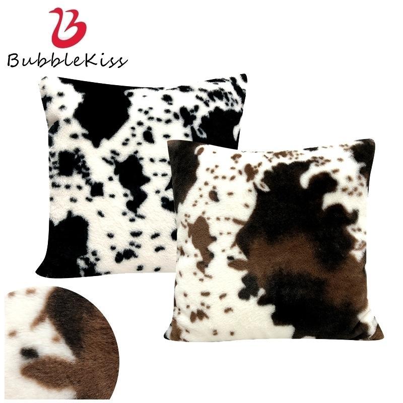 Bubble bison motif de vachette en peluche Couverture noire blanche molle house décoration coussin coussin coussin de coussin 2021 210317