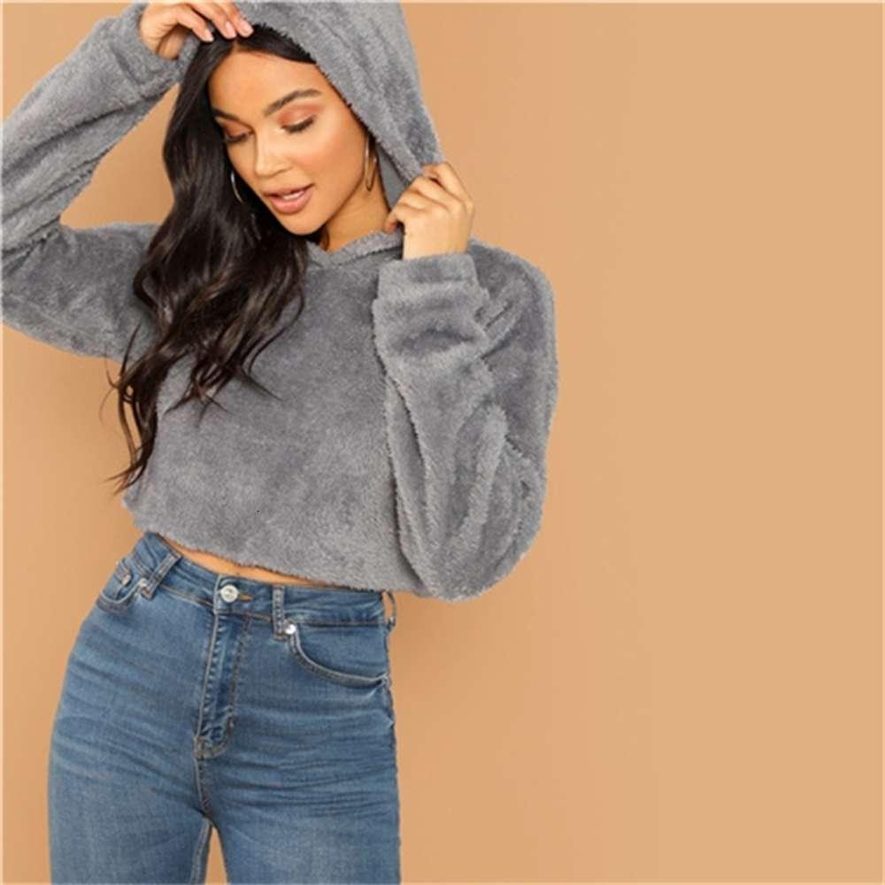 Nueva llegada gris minimalista caída sólido hombro teddy hoodie sudadera otoño casual moda mujeres jerseys sudaderas