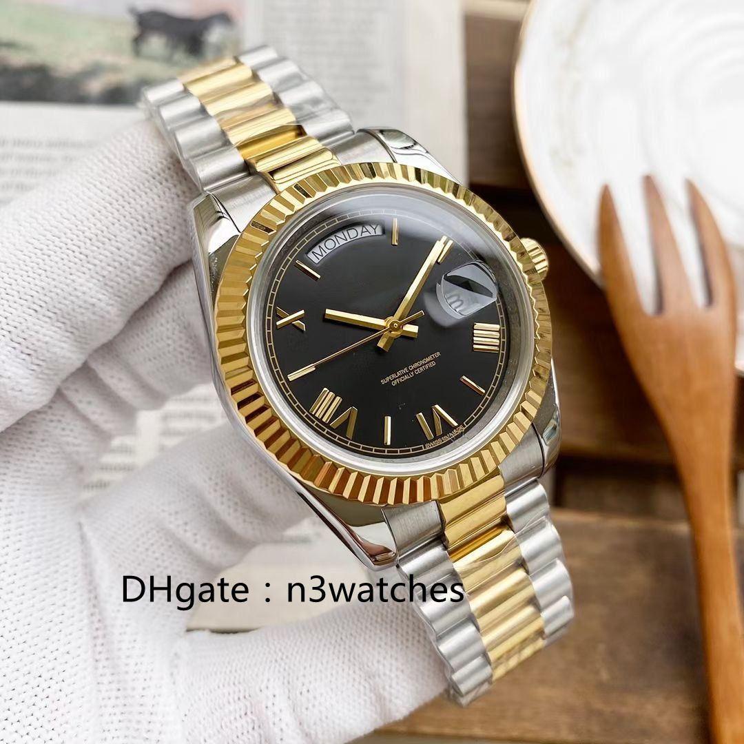 Relojes para hombre End Golden Golden Oro 39mm Calidad Deportes Movimiento automático Movimiento automático Luminoso 316L Acero inoxidable Impermeable Fecha de buceo Hombre Luxur Reloj