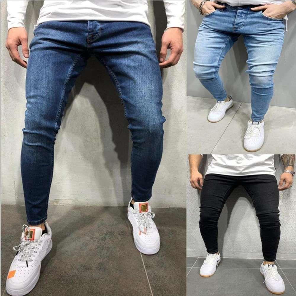 Mens Skinny Jeans Slim Denim Pants Pencil Denim Trousers Plus Size Pants Male Skinny Ripped Hole Patchwork Jeans Streetwear