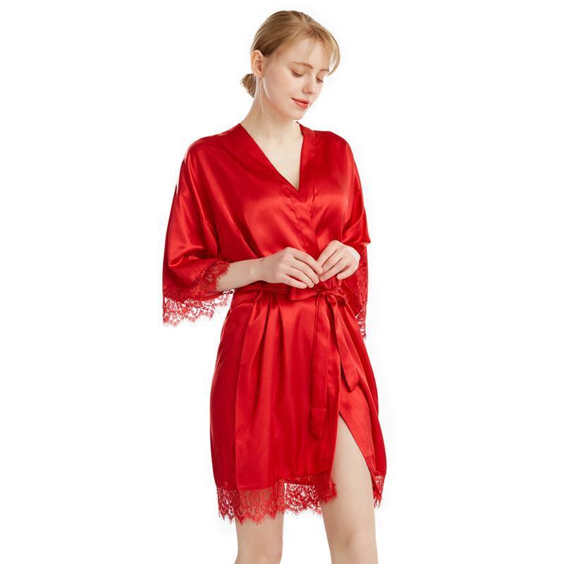 Kadın Pijama Seksi Dantel Kadın Bornoz Kıyafeti Samimi Lingerie Patchwork Kimono Robe Burgundy Kısa Rahat Ev Giyim