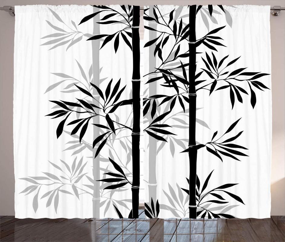 Vorhang Vorhänge Baum des Lebens Vorhangs Silhouette Bambus Blätter Japanischer Feng Shui Boho Wohnzimmer Schlafzimmer Fenster