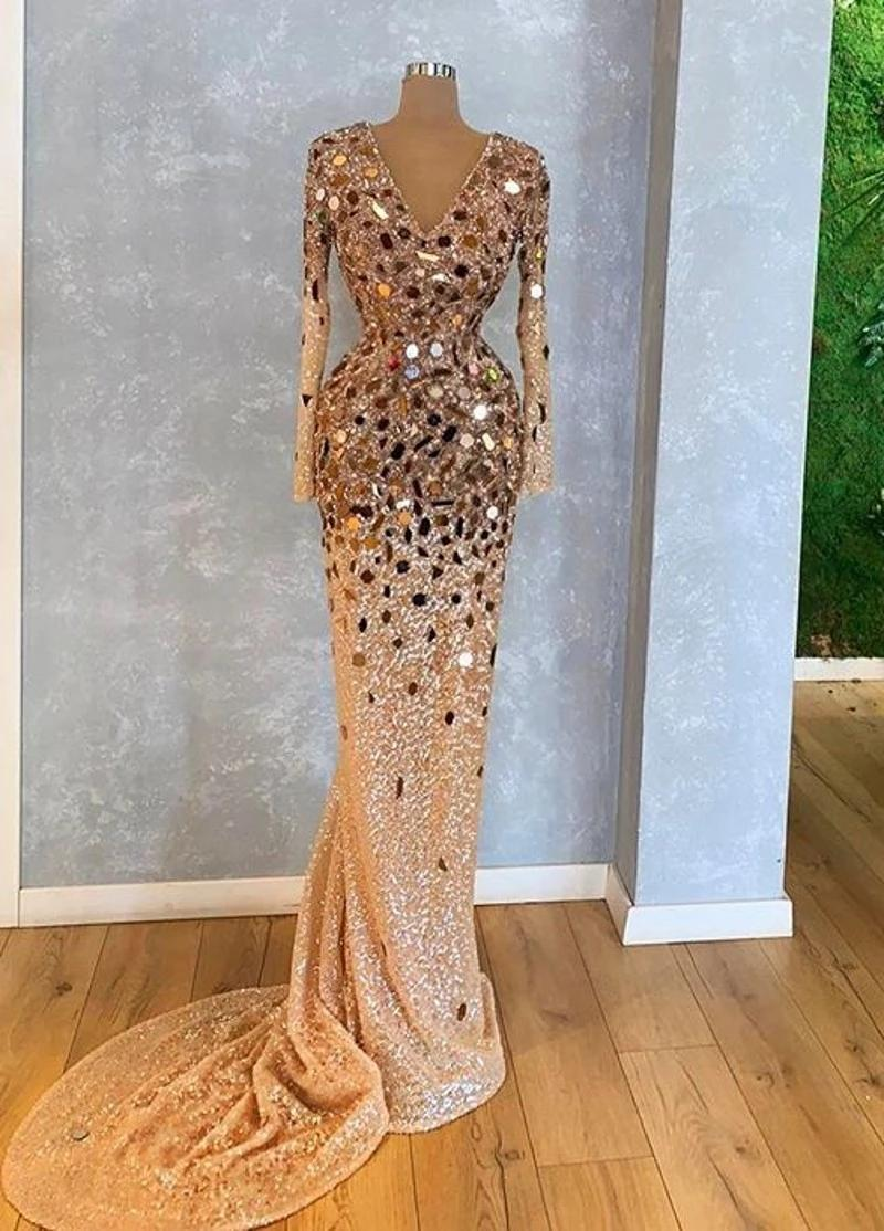 Sparkly Crystal Beaded Long Sleeves Mermaid Evening Dresses Luxury Gold Prom Dress Formal Party Pageant Gown