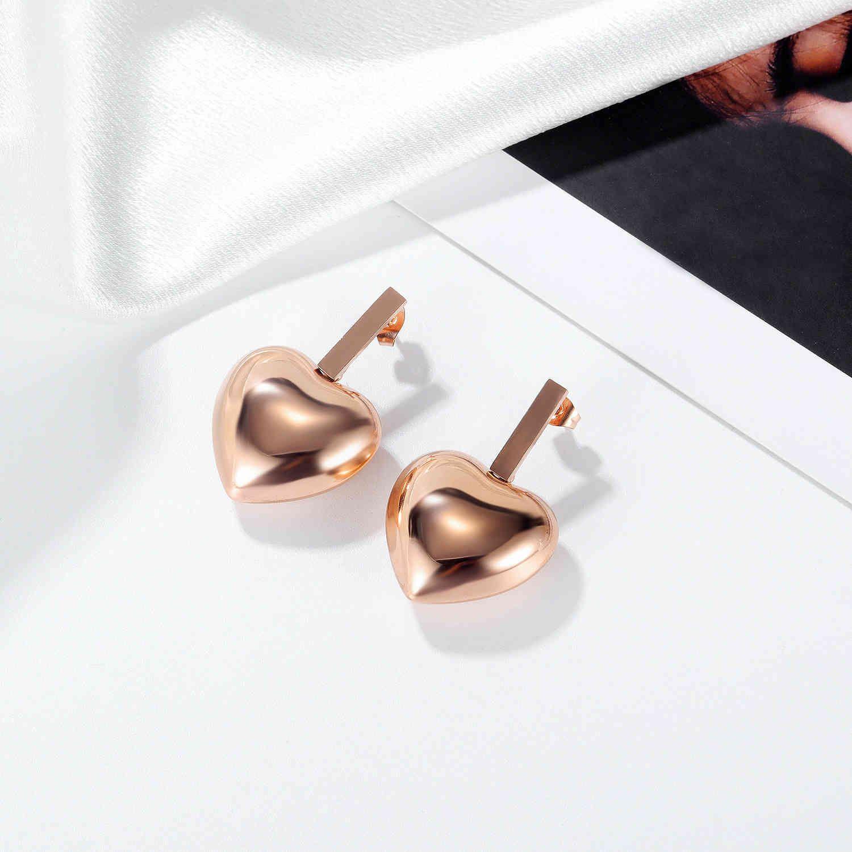 Ювелирные изделия OPK Япония и Корея ins Меньшинство Любовь Серьги Простая универсальная нержавеющая сталь Розовые золотые серьги