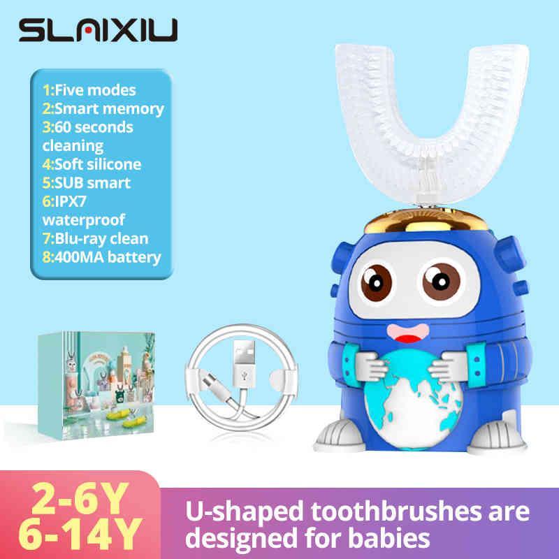 الأطفال فرشاة الأسنان الكهربائية للأطفال الذكية 360 درجة u سيليكون usb التلقائي الأسنان بالموجات فوق الصوتية فرشاة الأسنان نمط الكرتون Q0508
