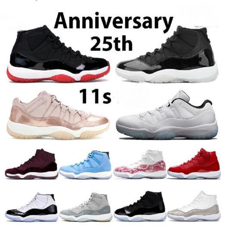 11S أحذية كرة السلة 11 رجالية أحذية رياضية بلون 25th الذكرى كونكورد 45 بارد رمادي الوردي الأفعى البشرة الفضاء مربى منخفضة الرياضة