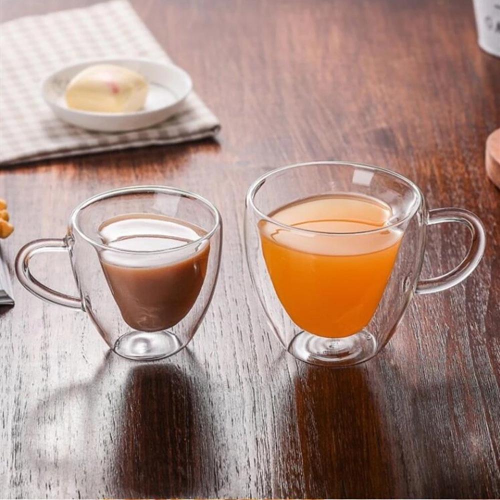 Copos de chá de vidro bebendo xícaras dupla camada de parede xícara de chá resistindo a calor creativo coração-dado forma de vidro duplo caneca xícara de café navio marinho EEB5436