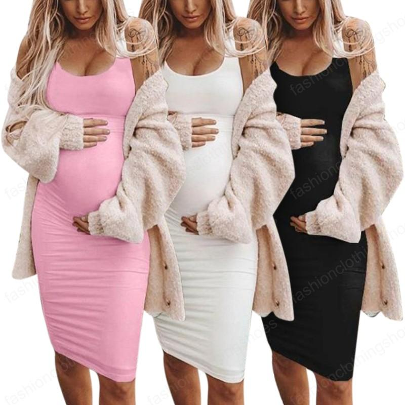 Women Pregnant Maternity Bodycon Dresses Casual Solid Color Sleeveless Nursing Homewear Sundress