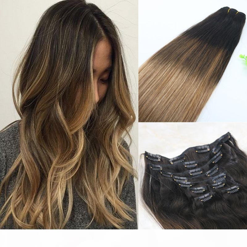 # 2 6 18 clipe em extensões de cabelo humano balayage ombre médio marrom com ash loira balayage destaques 120gram 7peces