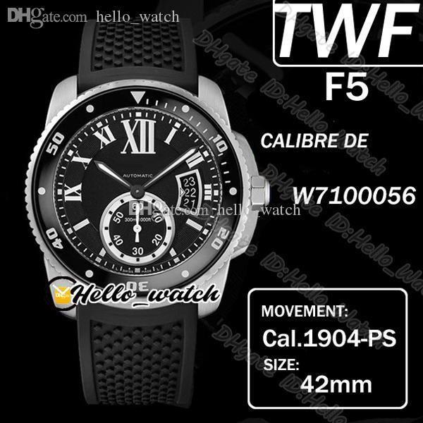TWF F5 Calibre de Dive W7100056 Cal.1904-PS Mc Mc Mend Automatique Montre Super Luminous Ceramic Bezel Noir Cadran Big Date Steel Bande Strap caoutchouc Hello_Watch