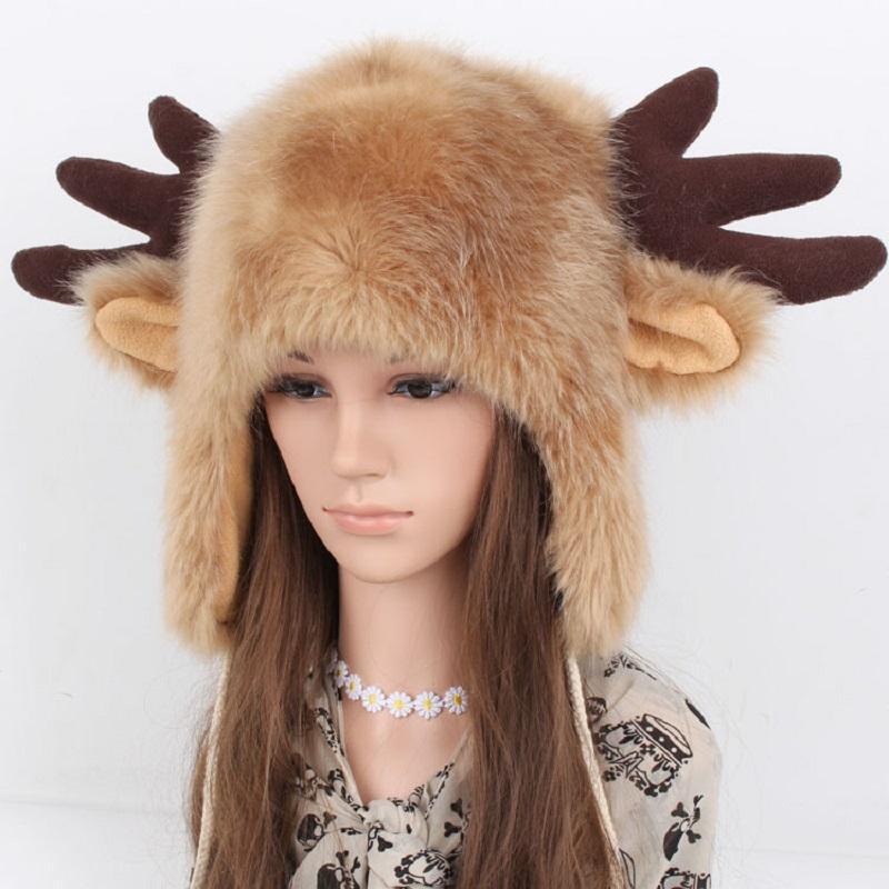 Inverno Natale Cappello Faux Fur Donne femminile Adulto Animale Animale Antlers Corni Costumi Cosplay Accessori per Capodanno